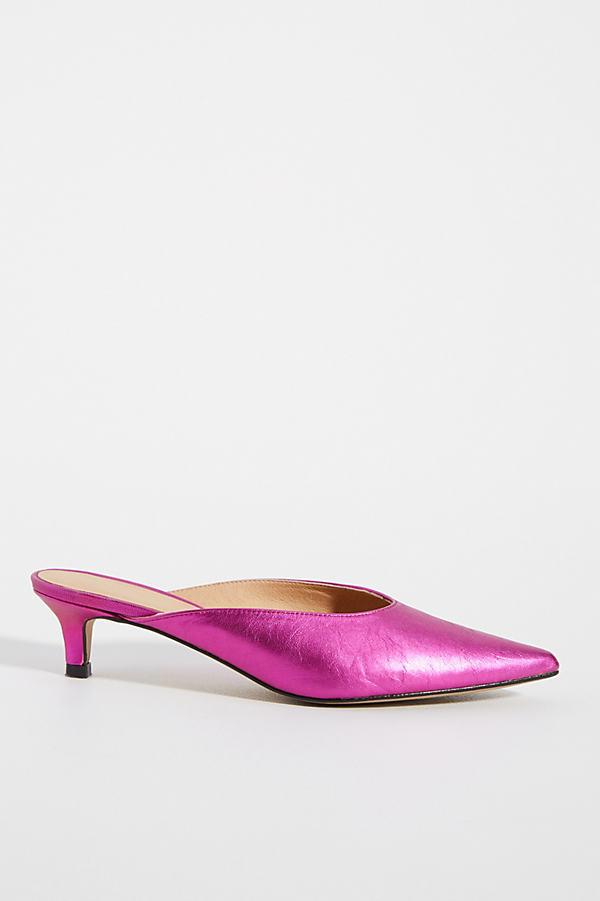 Jenny Kitten-Heeled Mules - Pink, Size 37