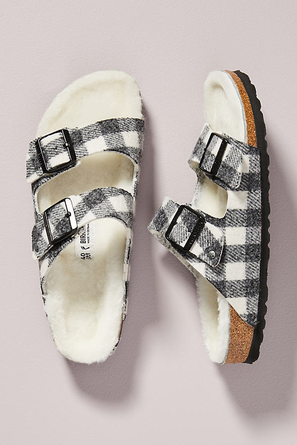 Birkenstock BIRKENSTOCK PLAID ARIZONA SHEARLING-LINED SANDALS