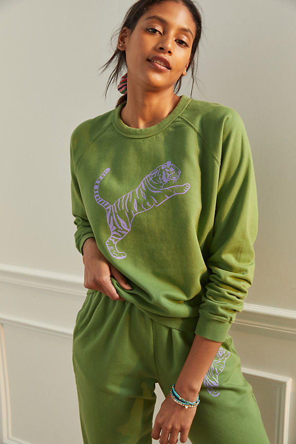 Clare V Cottons CLARE V. TIGER GRAPHIC SWEATSHIRT