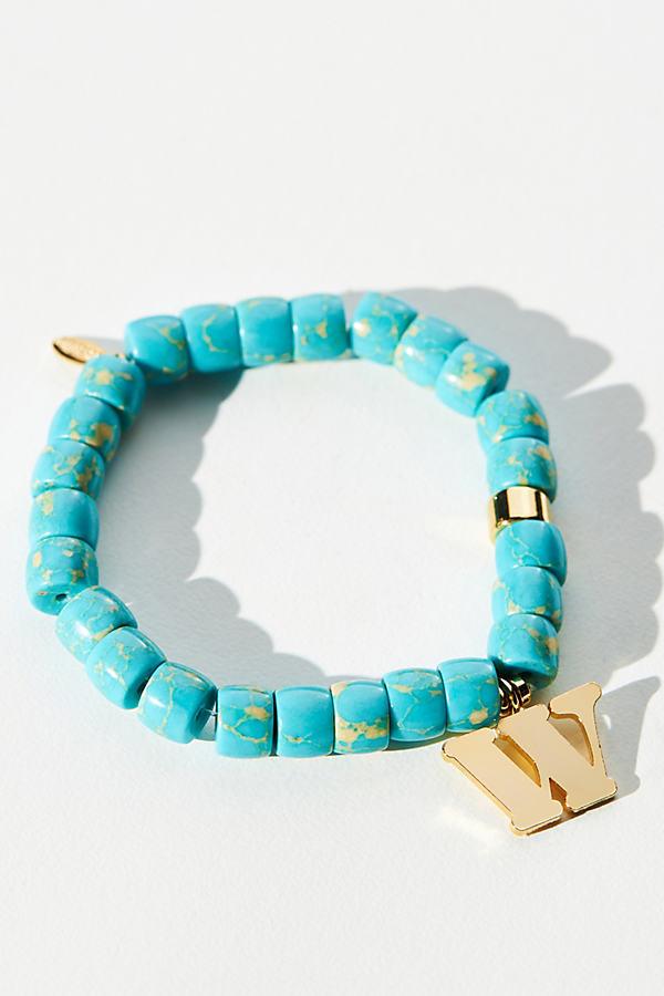 Beaded Monogram Charm Stretch Bracelet