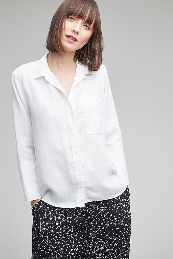 Aimee High-Low Shirt, White - White, Size S