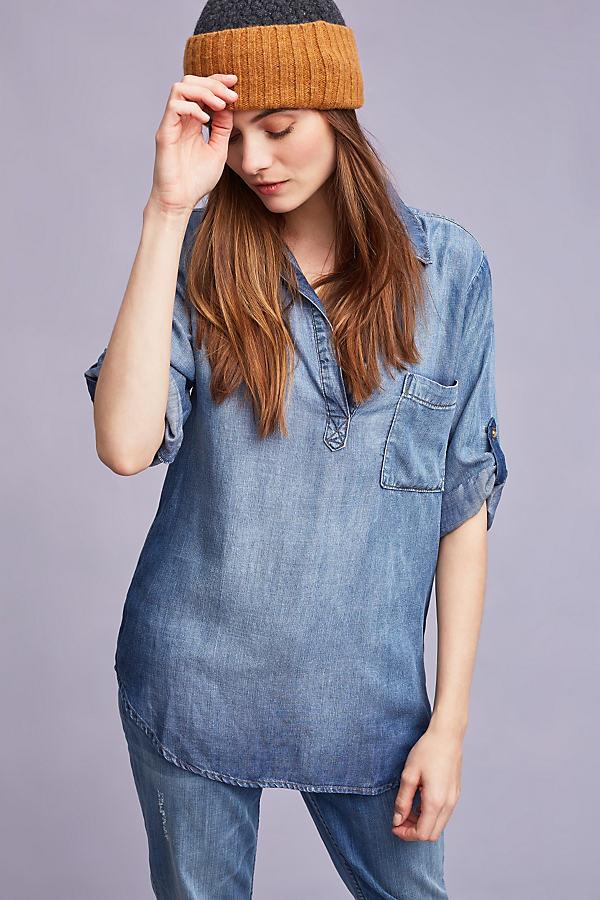 Jessa Chambray Henley Top, Blue - Navy, Size Xl