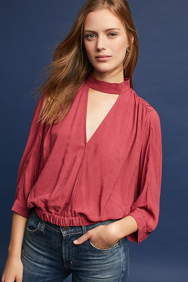 Surplice High-Neck Cutout Blouse - Red, Size L