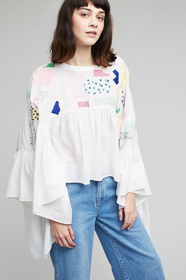 Haven Oversized Peplum Top, White - White, Size 14