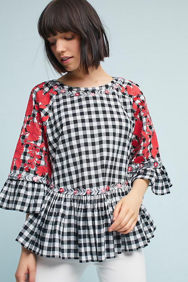 Kellie Gingham Swing Tunic - Black & White, Size Xl