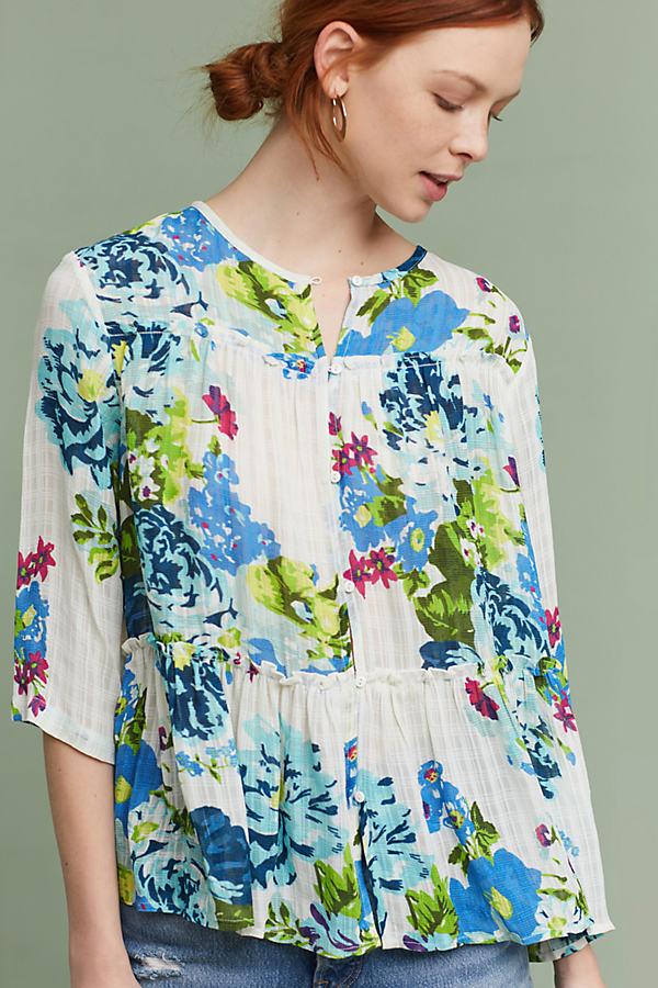 Lourdes Floral Top - Neutral Motif, Size Xs