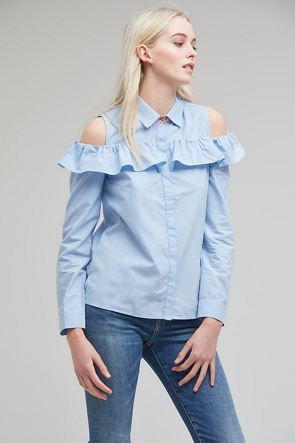 Nina Ruffled Shirt, Blue - Blue, Size 14