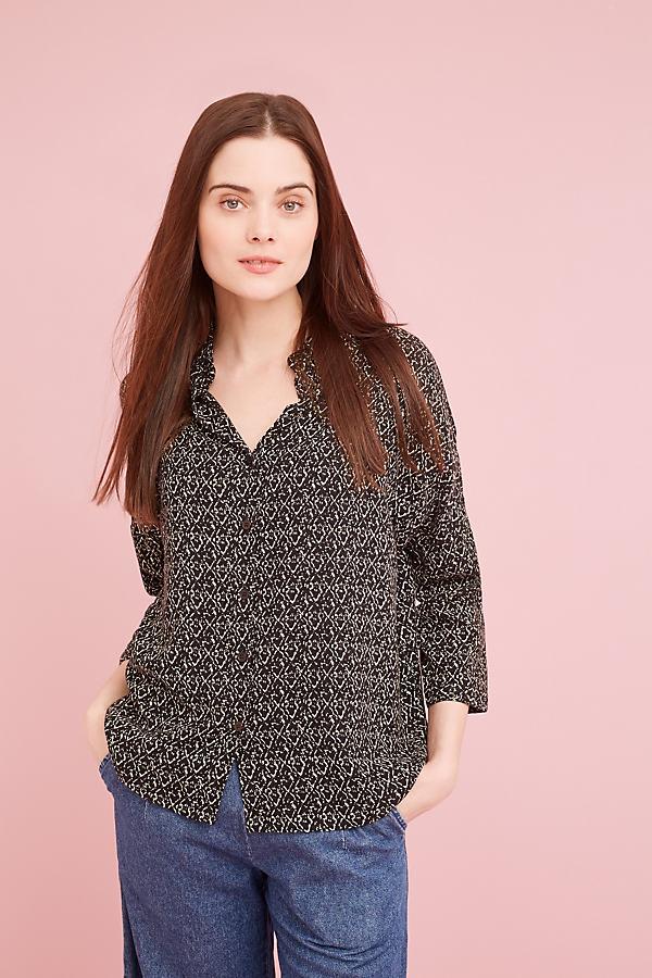 Marlin Printed Shirt, Black - Black Motif, Size Uk 6