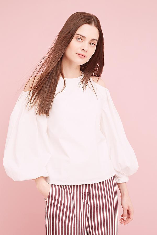 Freja Cold-Shoulder Top, White - White, Size S