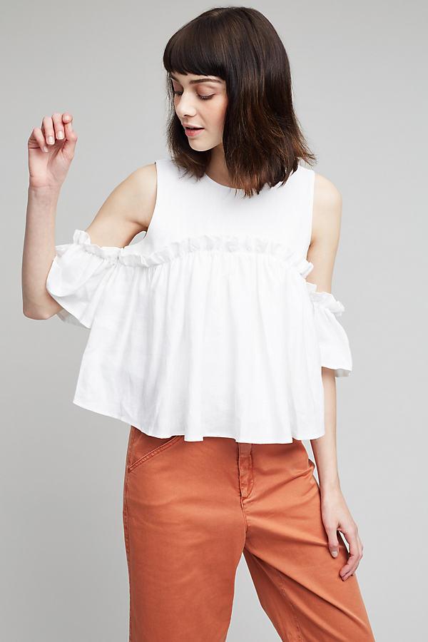 Marika Cold-Shoulder Top - White, Size M
