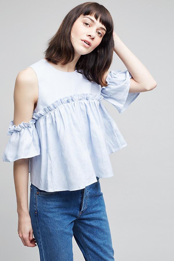 Marika Cold-Shoulder Top - Sky, Size M