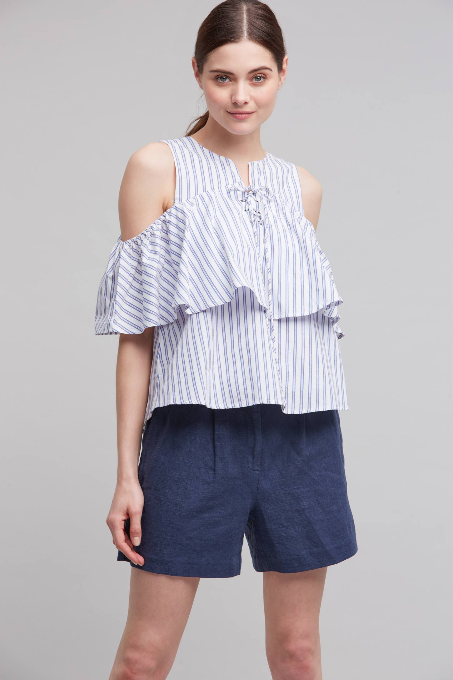 Slide View: 1: Kelby Open-Shoulder Top, Blue