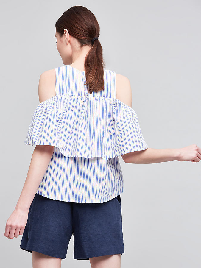 Slide View: 4: Kelby Open-Shoulder Top, Blue