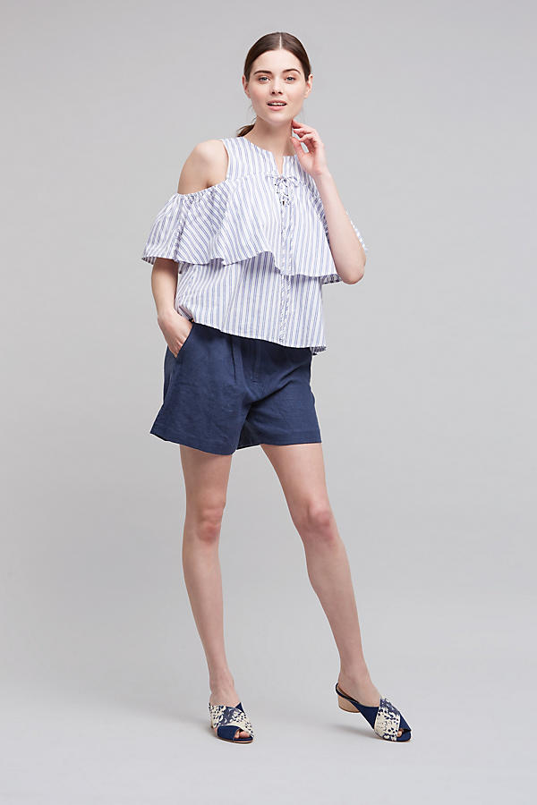 Slide View: 2: Kelby Open-Shoulder Top, Blue