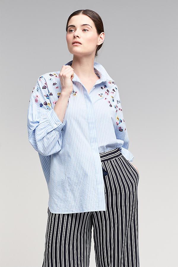 Jessie Embroidered Shirt, Blue - Blue, Size 16