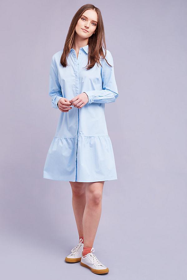Inez Pleated-Hem Shirt Dress, Blue - Blue, Size 14
