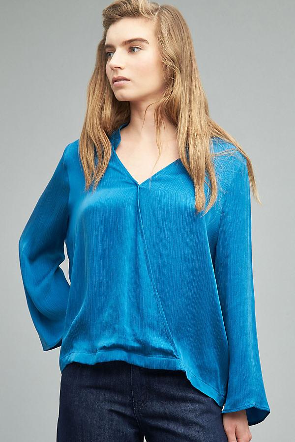 Adelpha Wrap Blouse, Blue - Navy, Size Xl