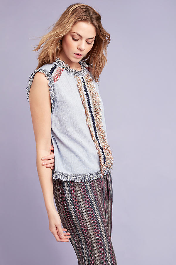 Emely Fringed Top, Blue - Blue, Size 14