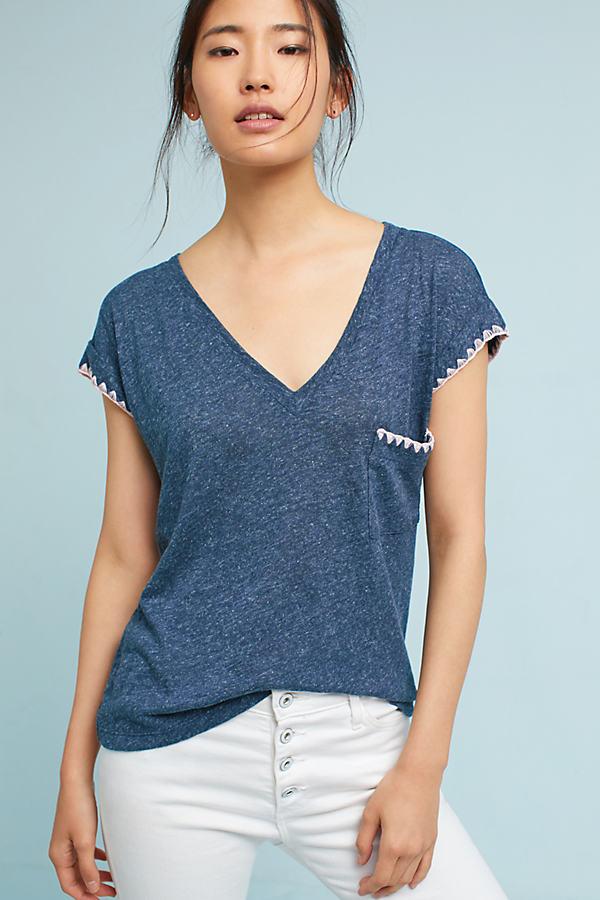 Hannele Embroidered Pocket V-Neck Tee - Navy, Size S