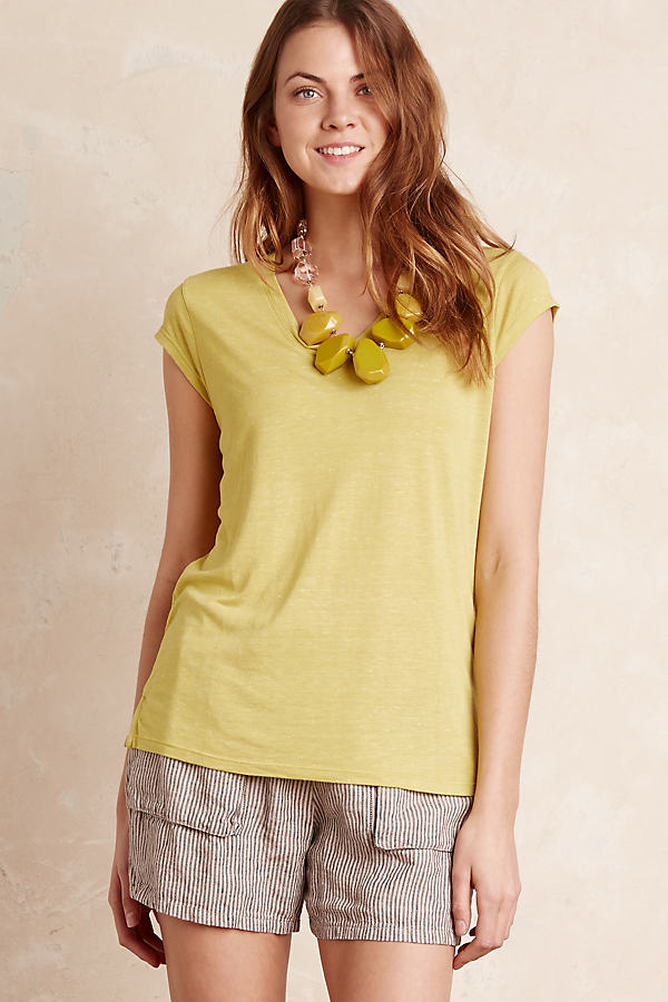 Quinlan V-Neck T-Shirt, Mint - Dark Yellow, Size Uk12