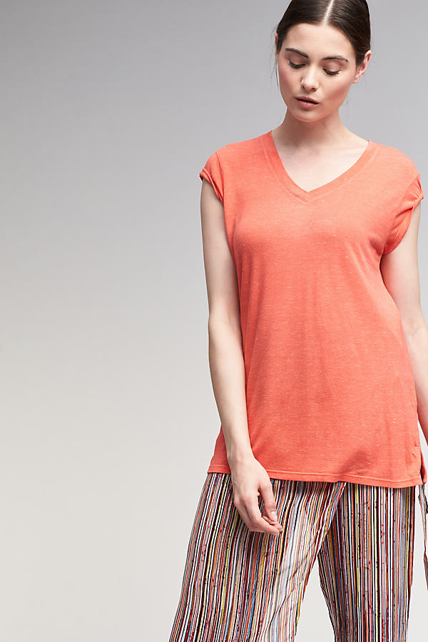 Quinlan V-Neck T-Shirt - Papaya, Size Uk 10