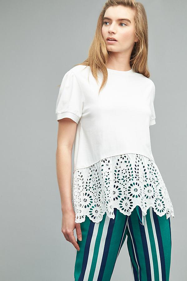 Hari Crochet Hem Tee, White - White, Size S