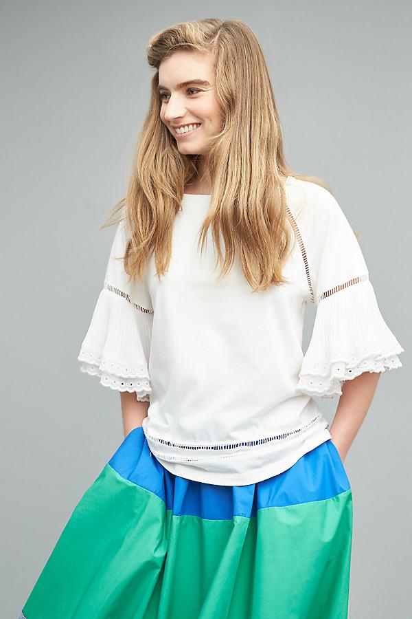 Freiya Pleated Flutter Sleeve Tee, White - White, Size Xs