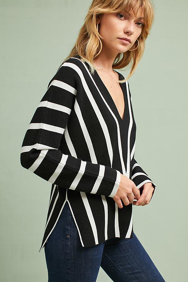 Hadley Striped V-Neck Pullover - Navy, Size Xs