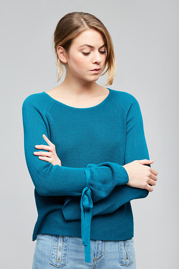 Phyliss Fluted-Sleeve Pullover - Blue, Size Xl