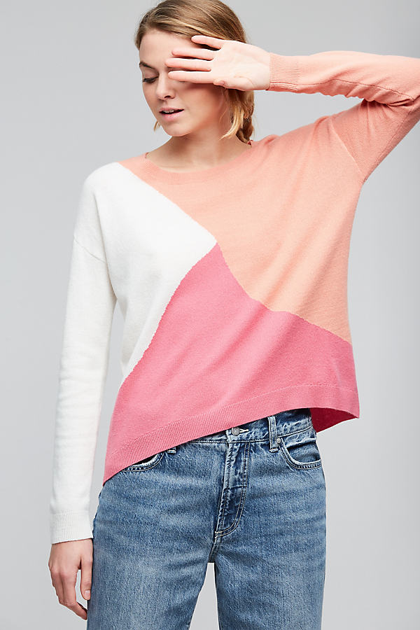Colourblock Wool Jumper, Pink - Pink, Size S