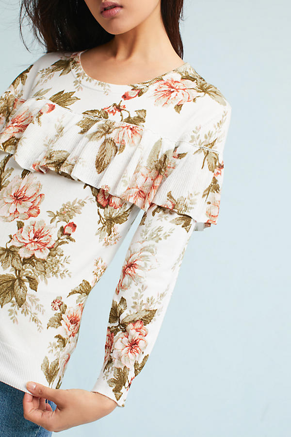 Slide View: 3: Ritchie Floral Ruffled Sweater