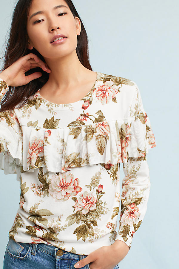 Slide View: 1: Ritchie Floral Ruffled Sweater