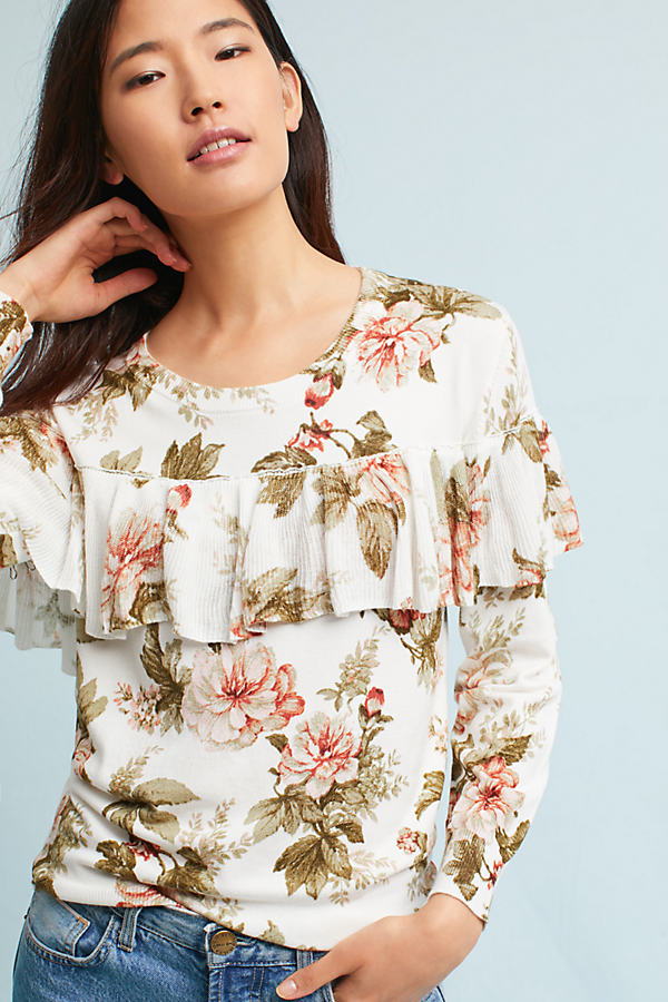 Ritchie Floral Ruffled Sweater - A/s, Size S