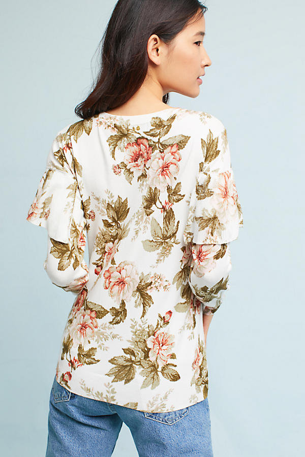 Slide View: 4: Ritchie Floral Ruffled Sweater