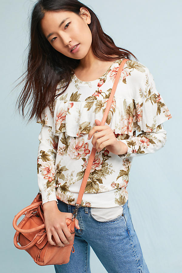 Slide View: 2: Ritchie Floral Ruffled Sweater
