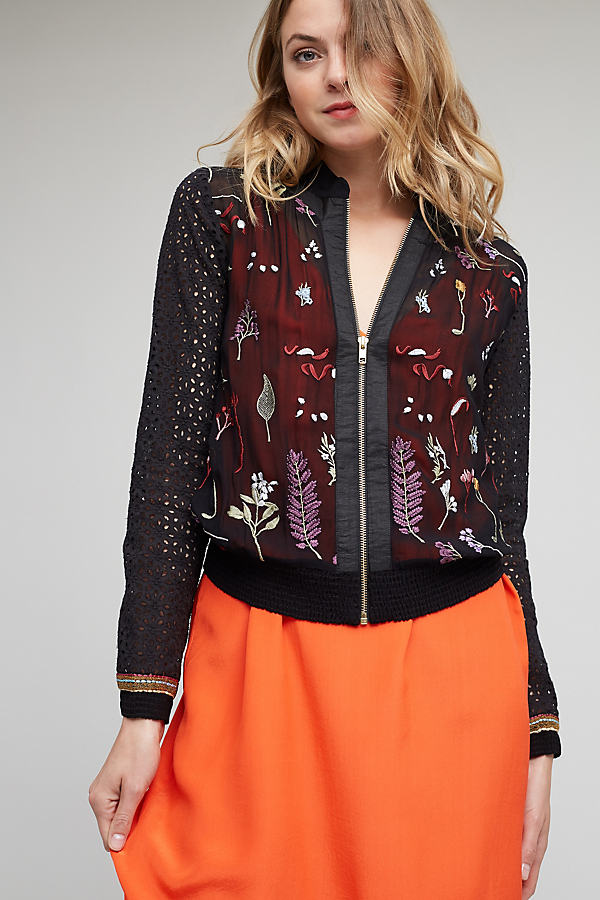 Carrie Embroidered Bomber, Black - Black Motif, Size Xs