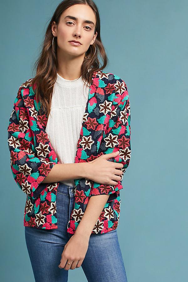 Luka Hydrangea Embroidered Kimono - A/s, Size M