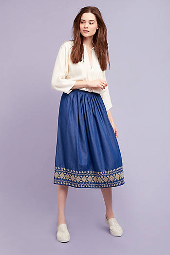 Zarina Denim Midi Skirt, Blue