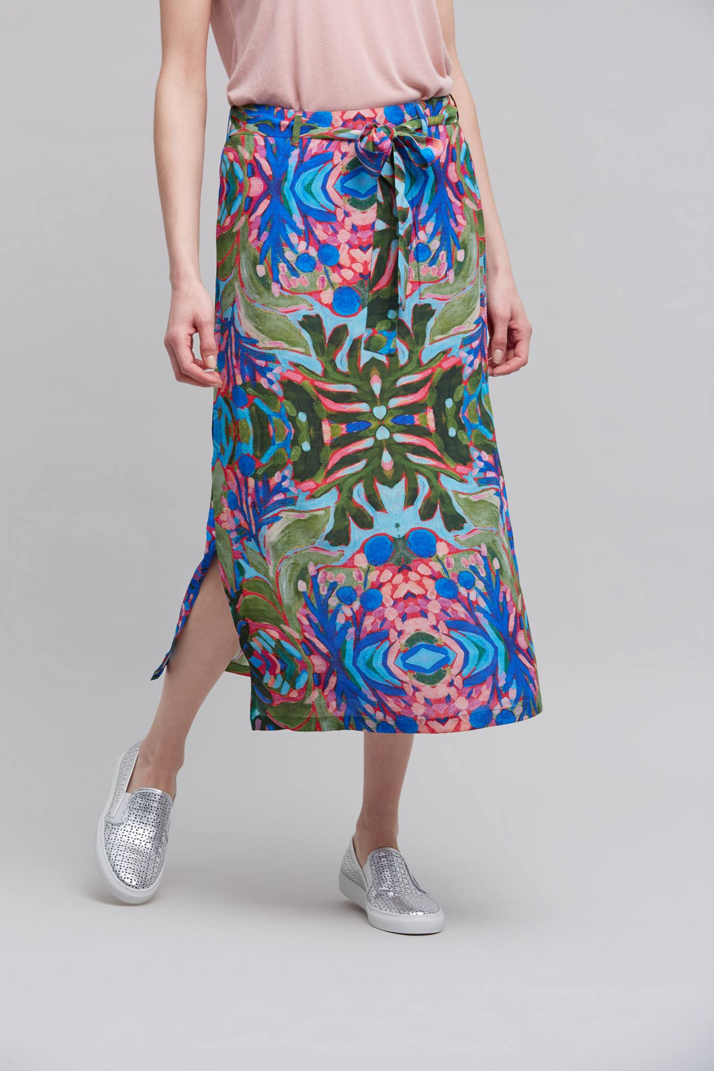 Umea Printed Midi Skirt, Blue | Anthropologie