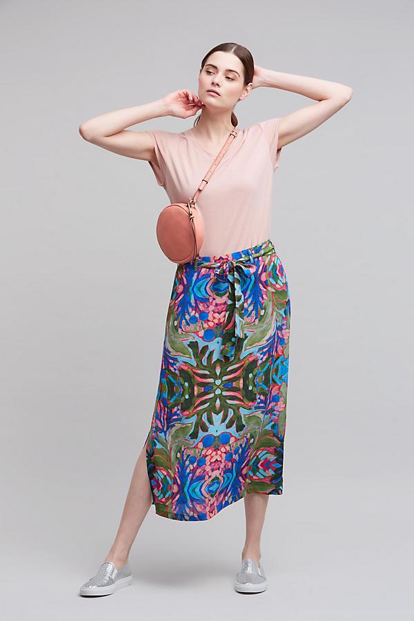 Umea Printed Midi Skirt, Blue | Anthropologie