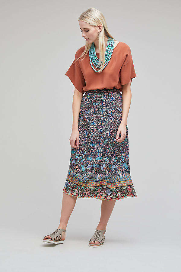 Johanne Printed Silk Skirt, Black - Black Motif, Size Uk12