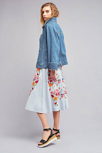 Lyn Embroidered Midi Skirt, Blue