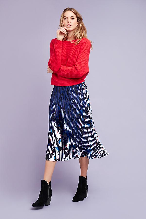 Laurene Printed Midi Skirt, Blue - Navy, Size Uk 8