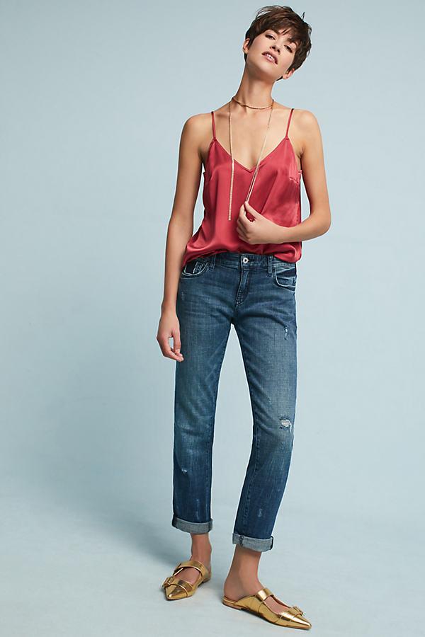 Aubree Mid-Rise Boyfriend Jeans - Denim Dark, Size 24 Petite