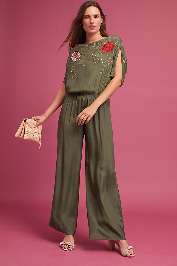 Yulia Embroidered Jumpsuit, Khaki - Khaki, Size S