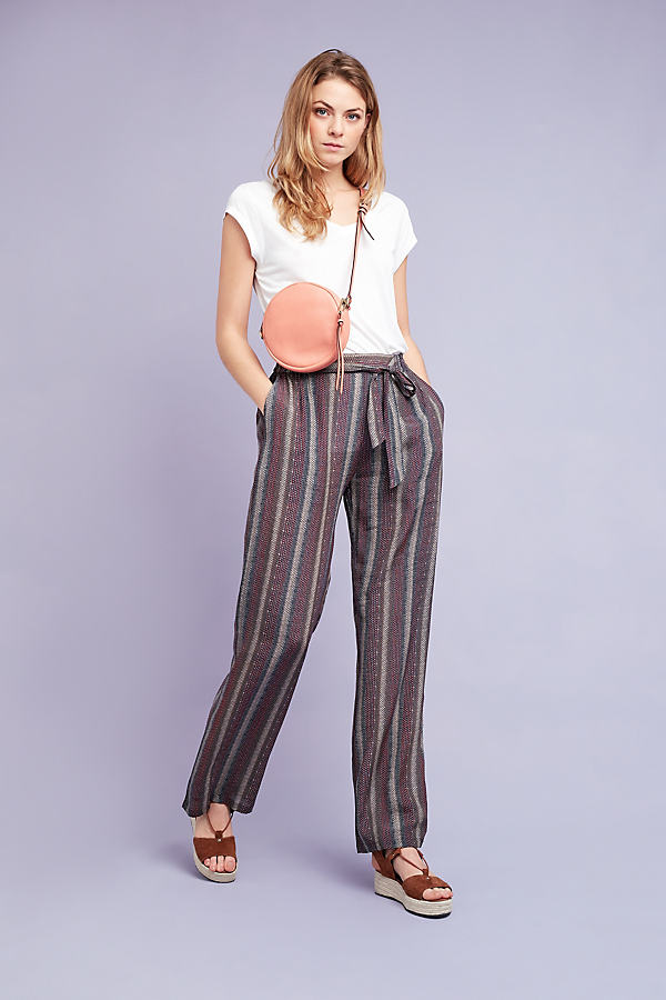 Diana Striped Trousers, Brown - Brown, Size 16