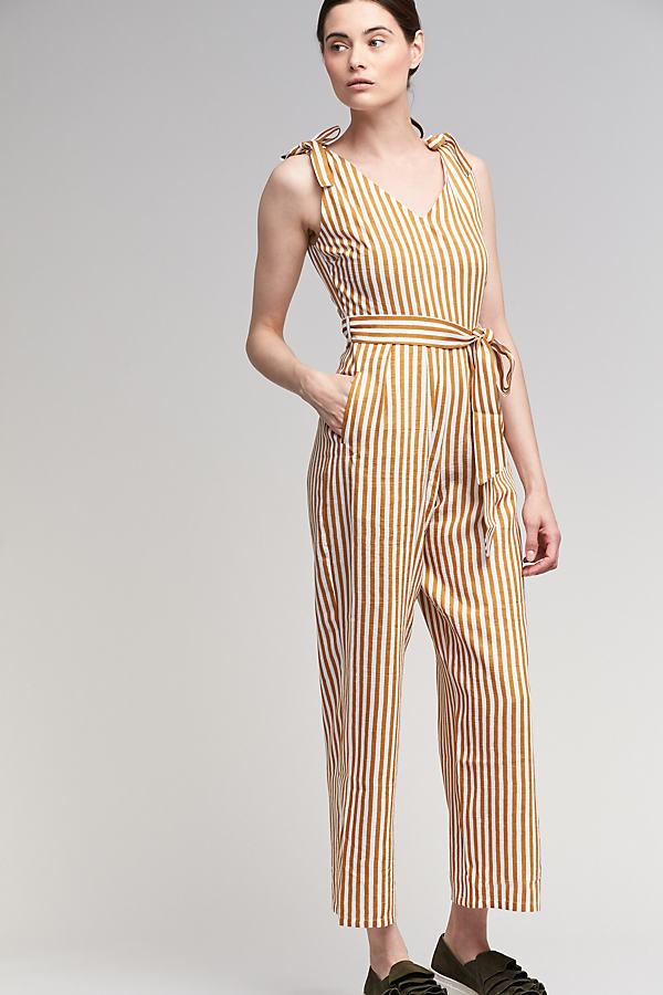 Petronela Striped Jumpsuit, Yellow - Yellow Motif, Size 14