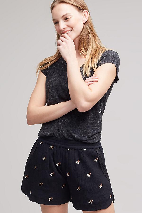Eda Embroidered Mini Shorts, Black - Black, Size L