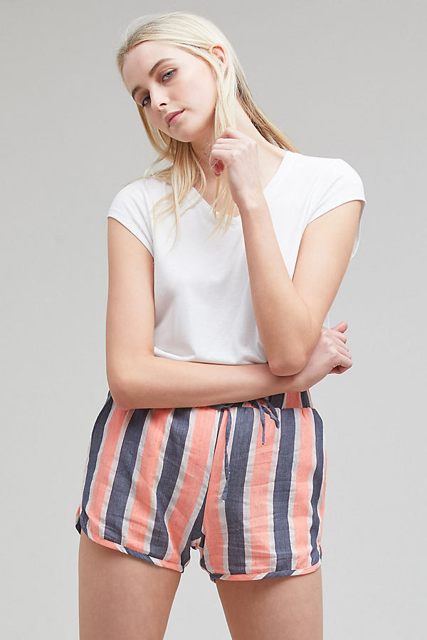 Aspen Striped Beach Shorts, Orange - Pink, Size S