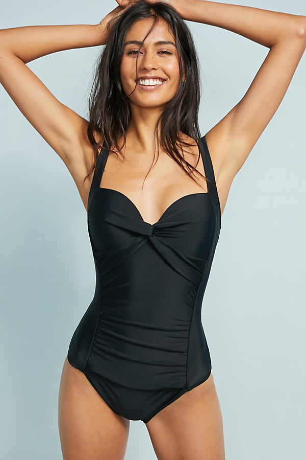 Mar Chiquita Twisted Plunge Swimsuit - Black, Size Uk 12